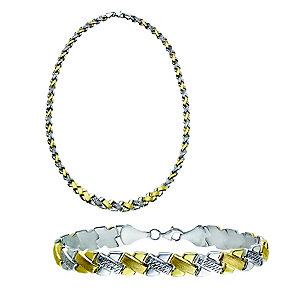 Together Bonded Silver & 9ct Gold Necklet & Bracelet Set - Product number 2245337