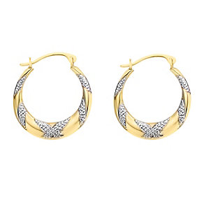Together Silver & Gold Bonded Kiss Design Creole Earrings - Product number 2245345