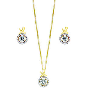 Silver & Gold Plate Swarovski Zirconia Earring & Pendant Set - Product number 2245353