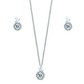 Sterling Silver & Swarovski Zirconia Earring & Pendant Set - Product number 2245388