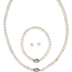 Silver Pearl & Diamonds Earrings, Necklace & Bracelet Set - Product number 2245477