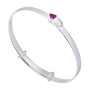 Forever Friends Sterling Silver Synthetic Ruby Bangle - Product number 2245485
