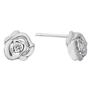 9ct white gold cubic zirconia rose stud earrings - Product number 2245639