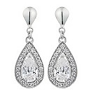 9ct white gold cubic zirconia vintage pear drop earrings - Product number 2245663