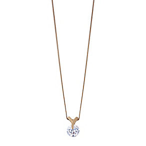 9ct rose gold cubic zirconia pendant - Product number 2245671