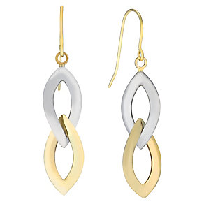 9ct gold two colour link drop earrings - Product number 2245698