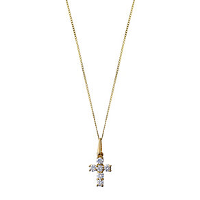 9ct yellow gold cubic zirconia mini cross pendant - Product number 2246953
