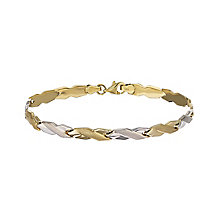 9ct two tone rhodium-plated cross bracelet - Product number 2247216