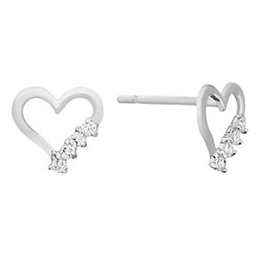 9ct white gold cubic zirconia heart stud earrings - Product number 2247267
