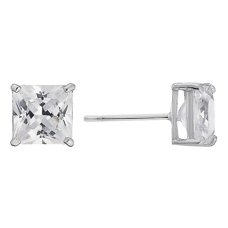9ct white gold princess cut cubic zirconia earrings - Product number 2247348