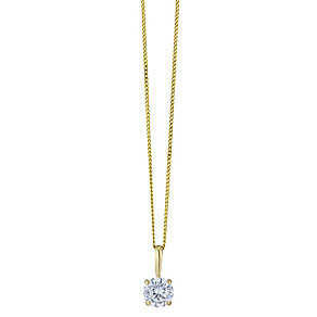 9ct yellow gold 5mm round cubic zirconia pendant - Product number 2247429