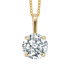 9ct yellow gold 6mm round cubic zirconia pendant - Product number 2247445