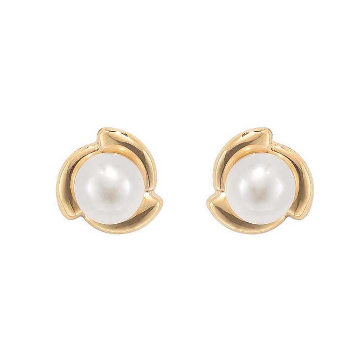9ct yellow gold cultured freshwater pearl knot stud earrings - Product number 2247534