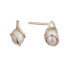 9ct rose gold cultured freshwater pearl wrap stud earrings - Product number 2247569