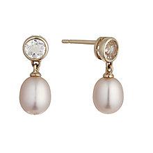 9ct rose gold pearl and morganite drop earrings - Product number 2247623