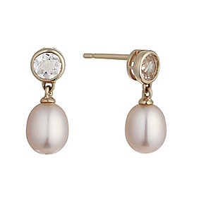 9ct rose gold pearl and morganite drop earrings - Product number 2247623