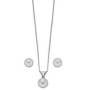 9ct white gold pearl earring and pendant set - Product number 2247712
