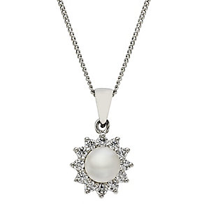 Silver cultured freshwater pearl & cubic zirconia pendant - Product number 2247801