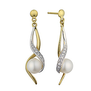 9ct yellow gold pearl and diamond spiral drop earrings - Product number 2247895