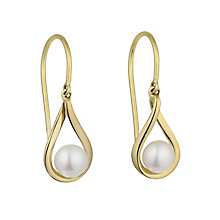 9ct yellow gold cultured freshwater pearl loop drop earrings - Product number 2247976