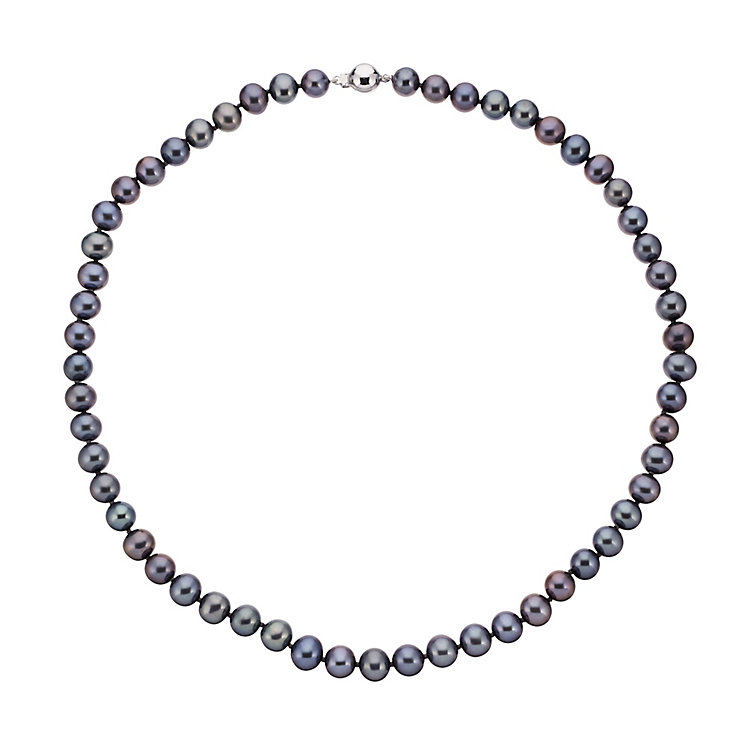 9ct white gold dyed black pearl strand necklet - Product number 2247992