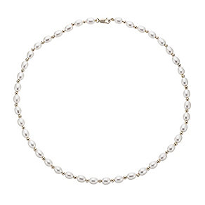 9ct yellow gold cultured freshwater pearl and bead necklace - Product number 2248026