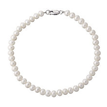 9ct white gold cultured freshwater pearl strand bracelet - Product number 2248115