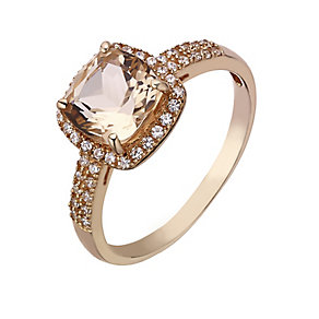9ct rose gold and simulated morganite cushion vintage ring - Product number 2249057