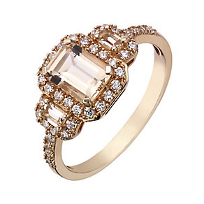9ct rose gold and simulated morganite trilogy vintage ring - Product number 2249227