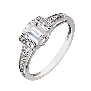 9ct white gold cubic zirconia baguette cut ring - Product number 2249375