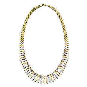 Together Bonded Silver & 9ct Gold Three Colour Necklace - Product number 2251124