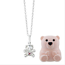 Children's Sterling Silver & Pink Enamel Kiss Teddy Pendant - Product number 2251140