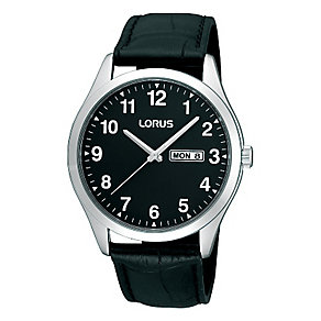 Lorus Men's Black Dial & Black Leather Strap Watch - Product number 2251558