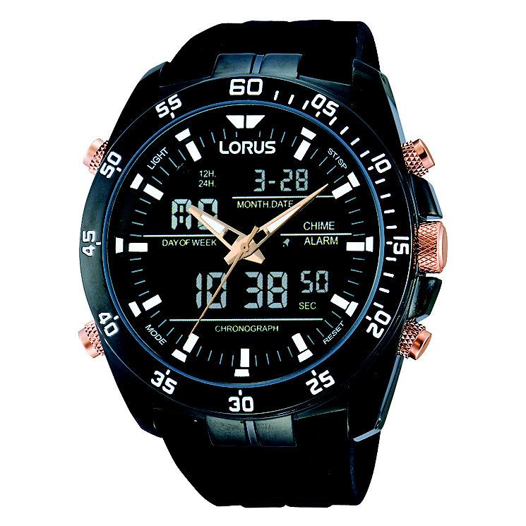 Lorus Men's Digital & Black Polyurethane Watch - Product number 2251906