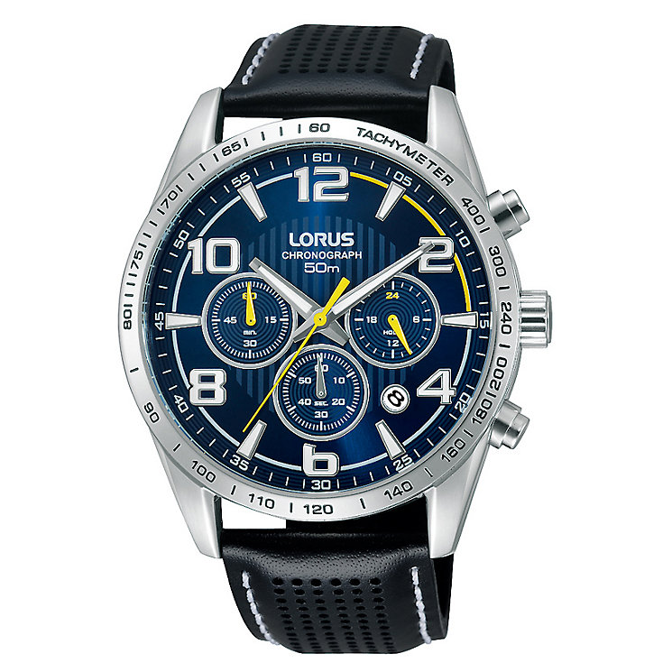 Lorus Men's Chronograph Black Leather Strap Watch - Product number 2251957