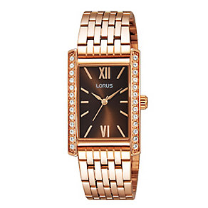 Lorus Ladies' Rose Gold Tone Crystal Bracelet Watch - Product number 2252082