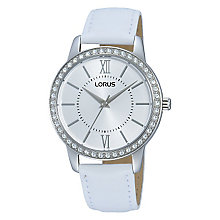 Lorus Ladies' Crystal Set White Leather Strap Dress Watch - Product number 2252139