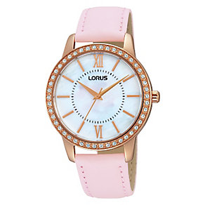 Lorus Ladies' Crystal Set Mother of Pearl Pink Strap Watch - Product number 2252201