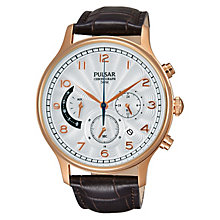 Pulsar Men's Chronograph Rose Gold Plate Brown Leather Watch - Product number 2252406