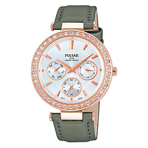 Pulsar Ladies' Rose Gold Plated Crystal & Grey Satin Watch - Product number 2252422