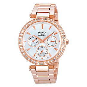 Pulsar Ladies' Rose Gold Plated Crystal Set Watch - Product number 2252430