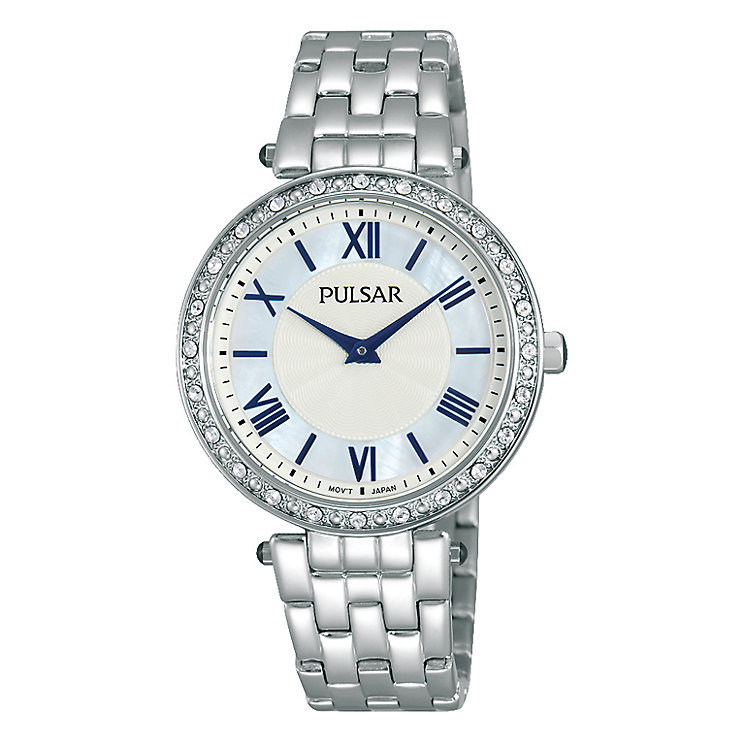 Pulsar Ladies' Stainless Steel Crystal Mother of Pearl Watch - Product number 2252449