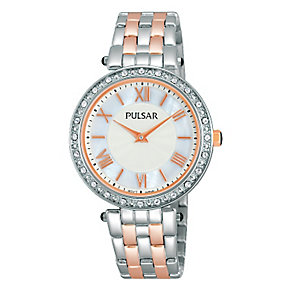 Pulsar Ladies' Two Tone Crystal Mother of Pearl Watch - Product number 2252473