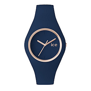 Ice Watch Ladies' Rose Gold Tone Navy Silicone Strap Watch - Product number 2252651