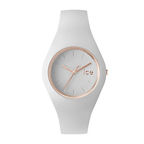 Ice Watch Ladies' Rose Gold Tone White Silicone Strap Watch - Product number 2252961