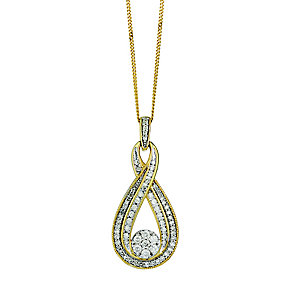 9ct yellow gold 0.50ct diamond pendant with hidden diamond - Product number 2253003