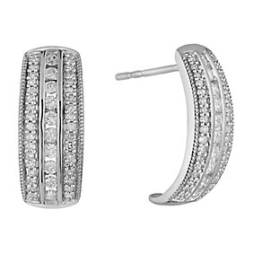 9ct white gold 0.50ct diamond earrings with secret diamond - Product number 2253038