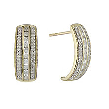 9ct yellow gold 0.50ct diamond earrings with secret diamond - Product number 2253046