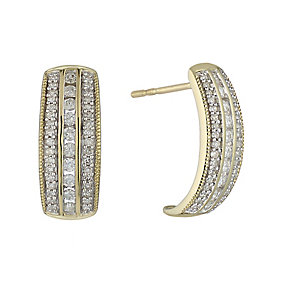 9ct yellow gold 0.50ct diamond earrings with hidden diamond - Product number 2253046