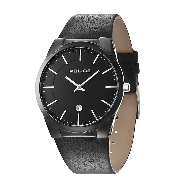 Police Men's Black Leather Strap Watch - Product number 2253127